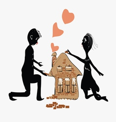 Couple Building House vector