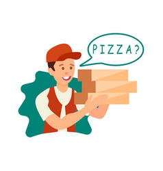 courier giving order to customer vector image