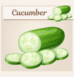 cucumber cartoon icon series food and vector image