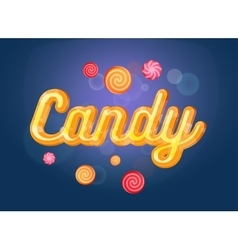 Cute candy font and sweets on blue background vector