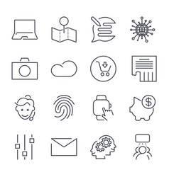 different universal icons thin line and perfect vector image