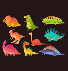 dinosaur wild animal set funny dinosaurs wild vector image