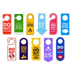 Do not disturb signs hotel room door hangers vector