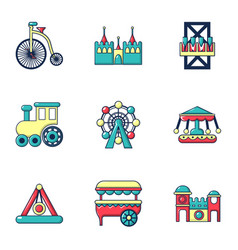 Entertainment park icons set flat style vector