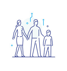 Family with child linear icons vector
