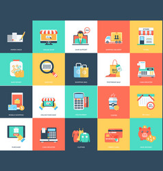 Flat icon set of shopping vector