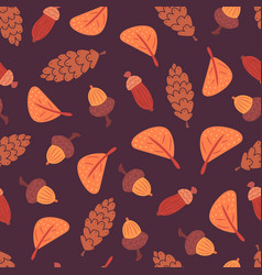 flat leaves acorns and cones pattern vector image