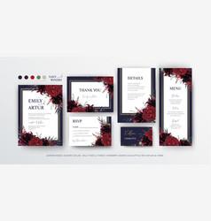 floral wedding invite menu rsvp card editable vector image