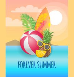 Forever summer beach party banner placard vector