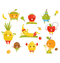 Funny fruits doing sports sportive strawberry vector