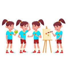 Girl schoolgirl kid poses set high school vector