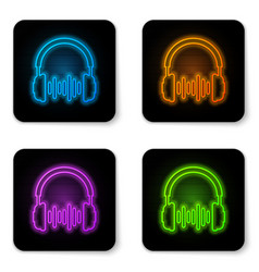 Glowing neon headphone and sound waves icon on vector