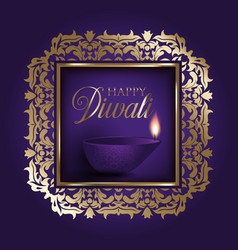 gold and purple diwali background vector image