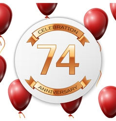 Golden number seventy four years anniversary vector