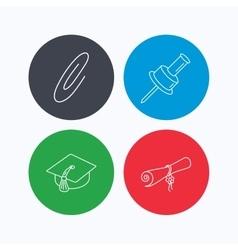Graduation cap pushpin and diploma icons vector image vector image