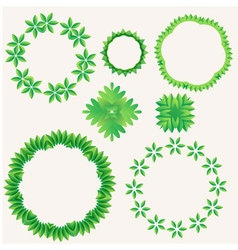Green leaf in circle element vector