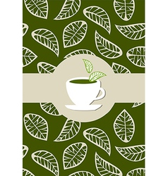 Green tea package label vector
