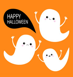 happy halloween flying ghost spirit set three vector image