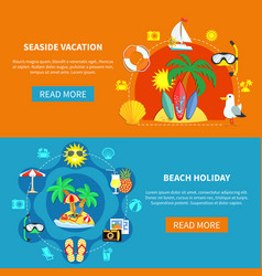 Holidays at seaside banners vector