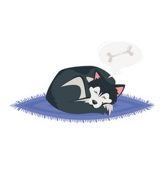 Husky dog sleeping vector