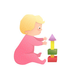 Infant cute blonde toddler girl sitting playing vector
