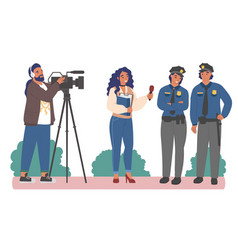 Interview with police officers female journalist vector