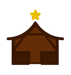 isolated wooden stable building with a star vector image
