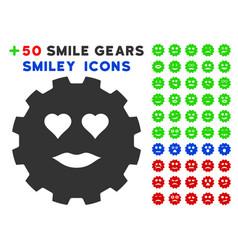 lady love smiley gear icon with bonus smiley vector image
