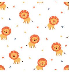lion cute cartoon seamless pattern vector image