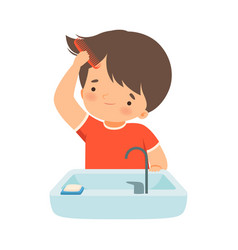 Little boy brushing his wet hair with comb vector