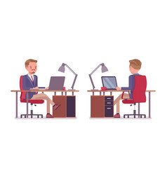 male office secretary busy with computer work vector image