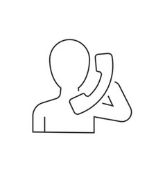 man holding handset linear icon on white vector image