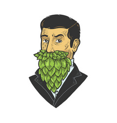 man with hop beard sketch vector image