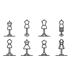 Mannequin icons set outline style vector