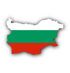Map and flag of bulgaria vector