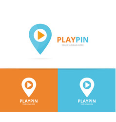 map pointer and button play logo vector image