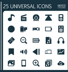 Media icons set collection of eject broadcast vector