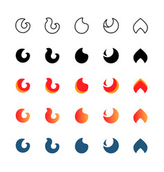 minimalistic fire icon set symbols vector image