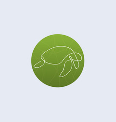 one line turtle logo vector image