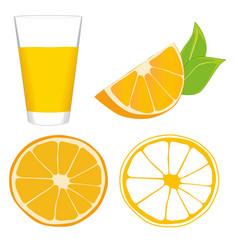 Orange slices and glass of orange juice vector