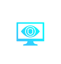 parental control icon eye on computer screen vector image