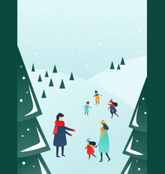 parents and children playing outside with snow vector image