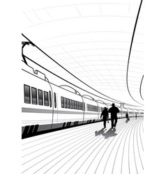 people at railway station vector image