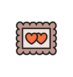 photo frame with two hearts valentine day flat vector image