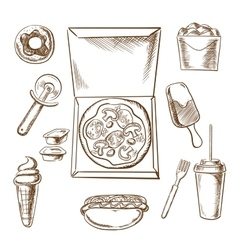 Pizza ice cream and fast food snacks vector
