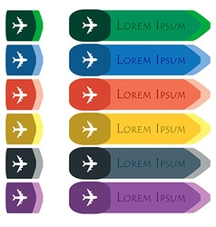 Plane icon sign Set of colorful bright long vector