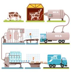 production of milk set milk industry cartoon vector image