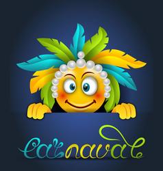 rio party carnaval festive poster smile emoji vector image