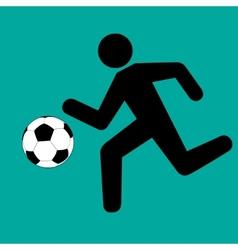 Running footballer with soccer ball vector
