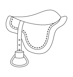 Saddle icon in outline style isolated on white vector